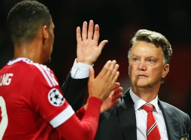 High 5! Manchester United manager Louis van Gaal.