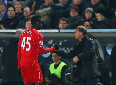 Liverpool striker Mario Balotelli and manager Brendan Rodgers.