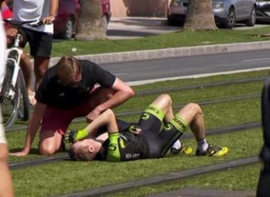Martin receives treatment after the collision.