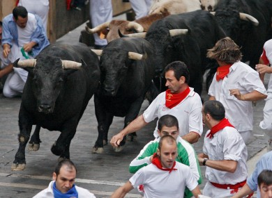 File image of a bull run in  Pamplona, northern Spain.