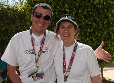 Thomas Connolly, a member of Nightriders Special Olympics Riding Club, from Coolaney, Co Sligo, with Elizabeth Mair, a member of Festina Lente Special Olympics Club, from Rathfarnham.
