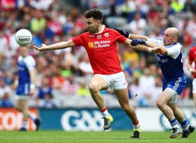 Tyrone's Tiernan McCann in action against Monaghan's Stephen Gollogly last Saturday.