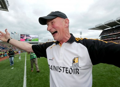 Kilkenny senior hurling manager Brian Cody celebrates following today's All-Ireland final victory against Galway.