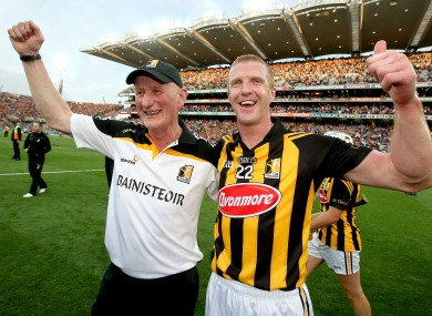 Brian Cody and Henry Shefflin celebrate after last year's All-Ireland hurling final replay win against Tipperary.