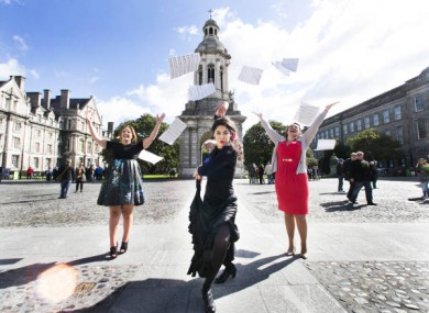 Dancer Jordana Souza with sopranos Tara Erraught and Celine Byrne at Trinity College during the launch of Culture Night 2015.
