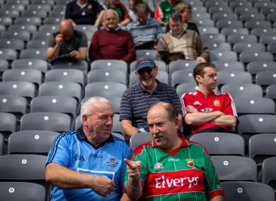 Dublin fan David Hall and Mayo fan Pat Lynchehaun.