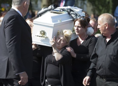 Helen O'Driscoll at the funeral of her 9-year-old twin boys, Tom and Paddy, in Charleville last year.