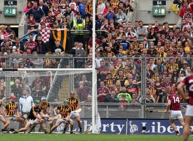 Joe Canning fires to the net for Galway but it was Kilkenny who celebrated at the end.