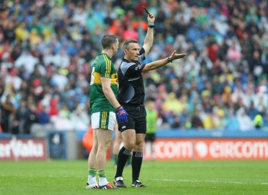 Marc Ó Sé is shown to the line by referee Maurice Deegan.