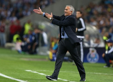 Chelsea manager Jose Mourinho gestures during the Champions League group G soccer match.