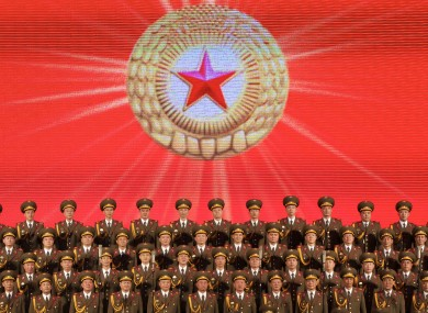 The North Korean male choir performing for the first time in Moscow.