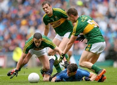 Kerry's Shane Enright, David Moran and Jonathan Lyne with Bernard Brogan of Dublin.