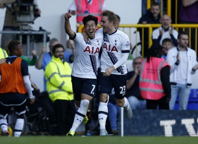Son and Christian Eriksen moments after his goal.