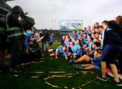 The Dublin team celebrate their title win.