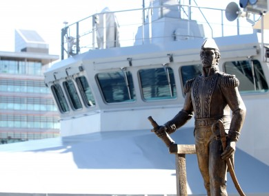The statue of Admiral William Brown stands in front of the L.E. Samuel Beckett at last year's naming ceremony.