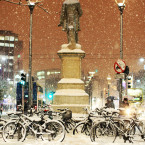 Bicycles are left chained up on O'Connell Street in Dublin as blizzard conditions set in.<span class=