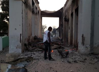 An MSF staff member walks through the grounds of the Kunduz trauma centre.