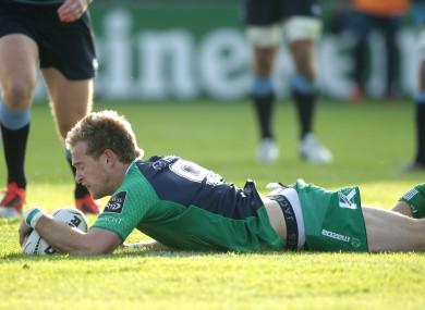 Connacht's Kieran Marmion scores their opening try.