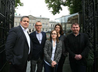 Residents of Longboat Quay at Leinster House today
