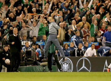 Ireland manager Martin O'Neill celebrates at the final whistle last night.