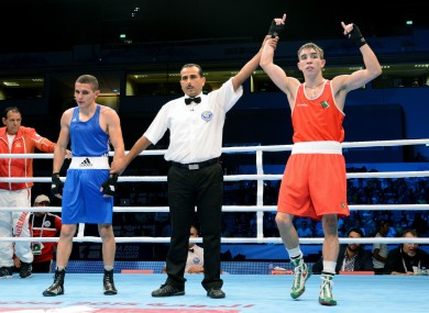 Conlan is declared the winner over Tayfur Aliyev.