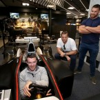 Peter O'Mahony, Jamie Heaslip and Sean O'Brien at Mercedes-Benz World. <span class=