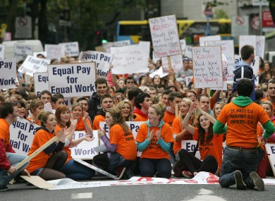 Teachers protest against proposed education cuts in 2012.