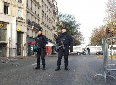 Police activity by the Bataclan concert hall this morning.