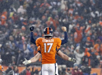 Brock Osweiler celebrates after leading the Broncos to a brilliant comeback.