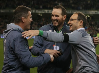 Republic of Ireland manager Martin O'Neill (right) and assistant manager Roy Keane celebrate after the UEFA Euro 2016 Qualifying Playoff second leg at the Aviva Stadium.