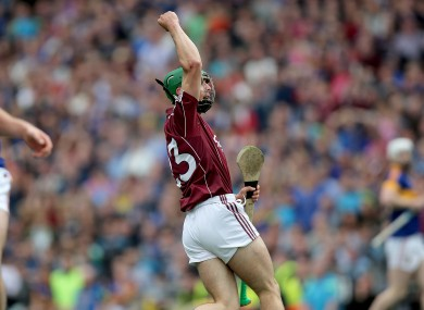 Galway substitute Shane Moloney celebrates scoring the winning point against Tipperary.