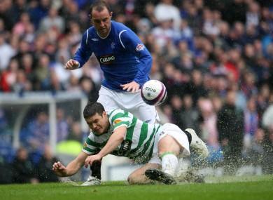 Darren O'Dea tackles Rangers' Kris Boyd.