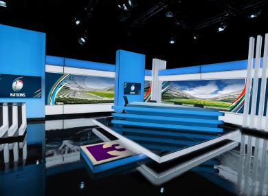 The TV3 studio for the Six Nations Championship.