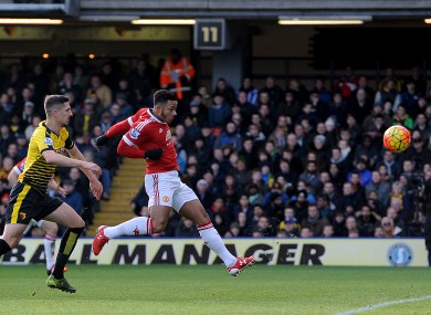 Manchester United's Memphis Depay scores his side's first goal of the game.