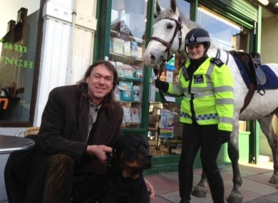 Darren, Rocco and PC Sam Lockyear along with her horse Quincy on Mill Lane, West Hampstead, Camden.