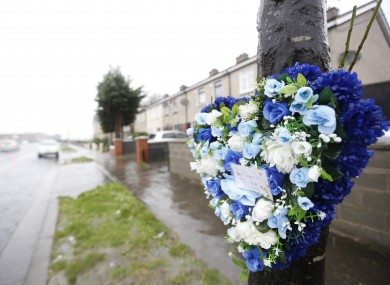 Tributes placed where Warren Kenny died on Christmas morning.