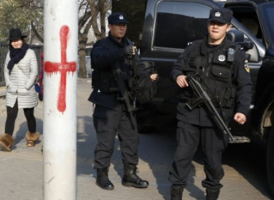 Heavily armed police officers in Beijing