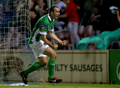 Murray celebrates scoring a last-minute winner against his former club Shamrock Rovers in 2014.
