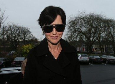 Dolores O'Riordan arrives at Ennis District Court today.