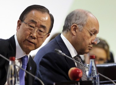 UN secretary general Ban Ki-moon and French foreign minister Laurent Fabius