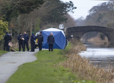 Investigators at the scene at the weekend.
