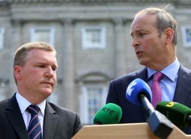File photo of Michael McGrath and Fianna Fáil leader Micheál Martin.