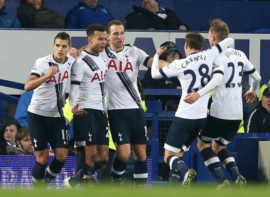 The Tottenham players with goalscorer Deli Alli.