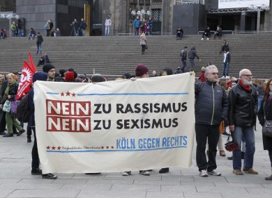 Protest outside the central station of Cologne, Western Germany