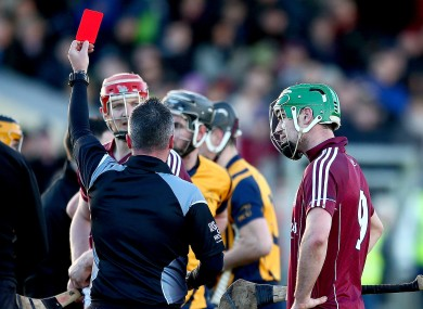 Referee James McGrath gives David Burke his marching orders.