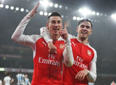 Laurent Koscielny celebrates his goal.