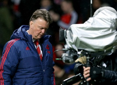 Manchester United manager Louis van Gaal walks away from the touchline after the final whistle, during the Emirates FA Cup, third round game against Sheffield United.