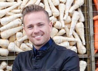 Nicky Byrne (with some parsnips) at the Ploughing Championships.
