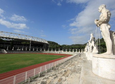 Statues overlook an area outside of Rome's Olympic Stadium.