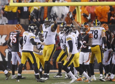 Pittsburgh Steelers' Chris Boswell (9) celebrates a 35-yard game inning field goal.